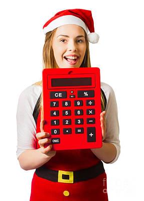 Christmas Girl Calculating Holiday Savings Art Print by Jorgo Photography - Wall Art Gallery
