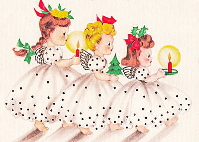 Painting - Christmas Girls by Munir Alawi