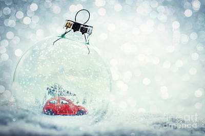Photograph - Christmas Glass Ball In Snow With Miniature Winter World Inside by Michal Bednarek