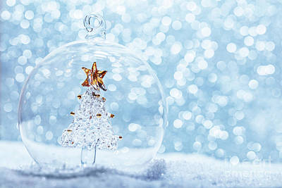 Crystal Photograph - Christmas Glass Ball With Crystal Tree Inside In Snow by Michal Bednarek