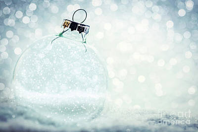 Photograph - Christmas Glass Ball With Empty Interior. Snow And Glitter by Michal Bednarek