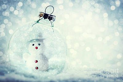 Photograph - Christmas Glass Ball With Snowman Inside. Snow And Glitter by Michal Bednarek