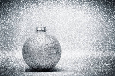 Photograph - Christmas Glass Balls Decoration On Silver Glitter Background by Michal Bednarek