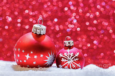 Photograph - Christmas Glass Balls In Snow. Glitter Background by Michal Bednarek