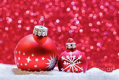 Glitter Photograph - Christmas Glass Balls In Snow. Glitter Background by Michal Bednarek