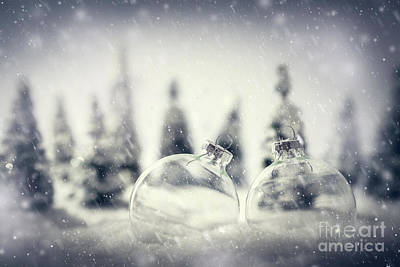 Magic Photograph - Christmas Glass Balls In Winter Miniature Forest Scenery With Snow. by Michal Bednarek