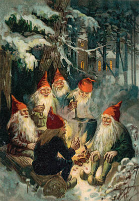 Snow Scenes Drawing - Christmas Gnomes by English School