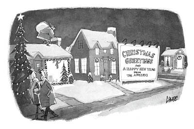 Cold Drawing - Christmas Greetings From The Applebys by Claude Smith