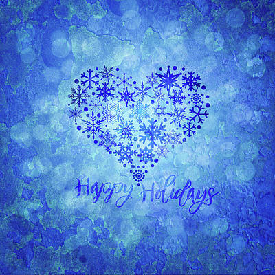 Digital Art - Christmas Happy Holidays Snowflakes Heart Shape Illustration by Jit Lim