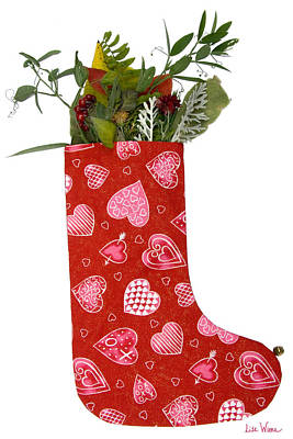 Photograph - Christmas Heart Stocking With Bouquet by Lise Winne
