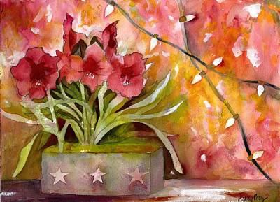 Amaryllis Watercolor Painting - Christmas Holiday Amaryllis by Kelly Perez