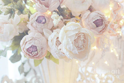 Photograph - Christmas Holiday Peony Floral Print Home Decor - White Dreamy Pastel Peonies Christmas Lights by Kathy Fornal