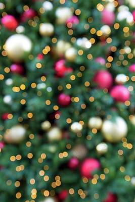 Photograph - Christmas Holiday Tree Decoration Blurred Bokeh Background by David Gn