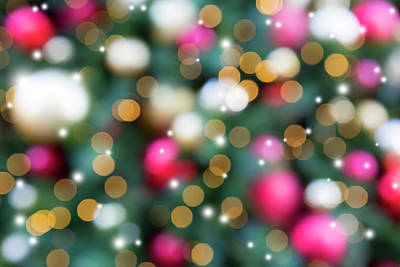 Photograph - Christmas Holiday Tree Decoration Blurred Bokeh With Sparkles by David Gn