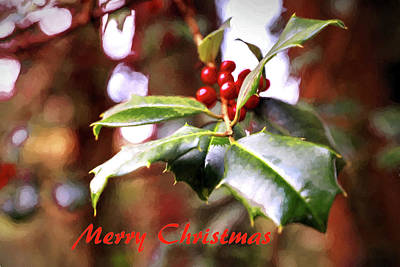 Photograph - Christmas Holly Painting by Carol Montoya