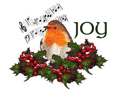 Pastel - Christmas Holly With English Robin by Joyce Geleynse