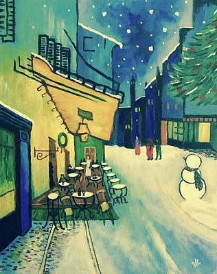 Painting - Christmas Homage To Vangogh by Victoria Lakes