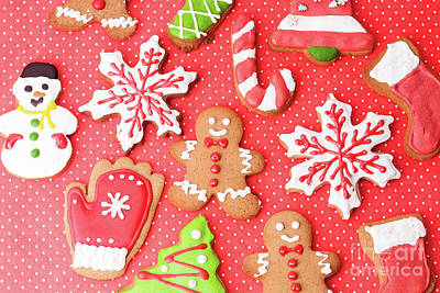 Gingerbread Photograph - Closeup Of Christmas Homemade Gingerbread Cookies by NadyaEugene Photography