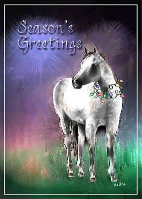 Horse Digital Art - Christmas Horse by Arline Wagner