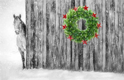 Barns In Snow Photograph - Christmas Horse In Black And White by SharaLee Art