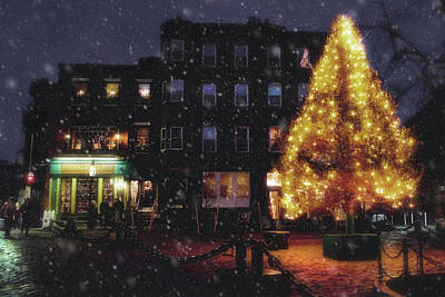 Photograph - Christmas In Boston - North Square by Joann Vitali