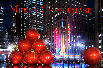 Word Signs - Christmas in New York Greeting by Mark Andrew Thomas