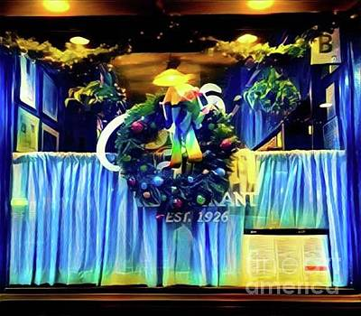 Photograph - Christmas In New York - Restaurant Wreath by Miriam Danar