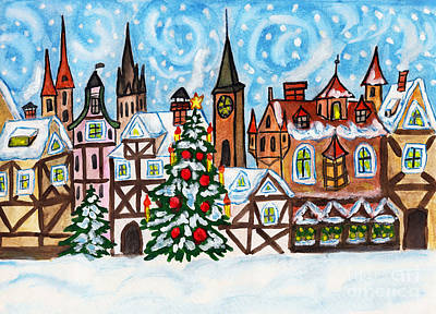 Painting - Christmas In Old European Town by Irina Afonskaya