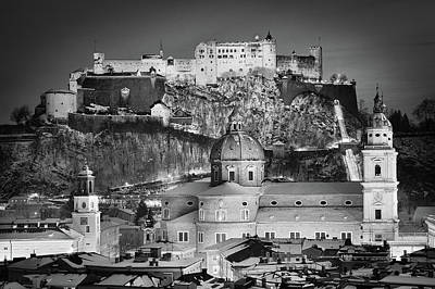 Photograph - Christmas In Salzburg Bw by JR Photography