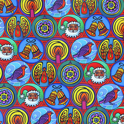 Happy Holidays Painting - Christmas In Small Circles by Jane Tattersfield