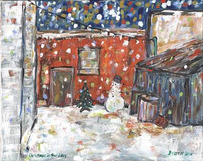 Painting - Christmas In The Alley by David Dossett