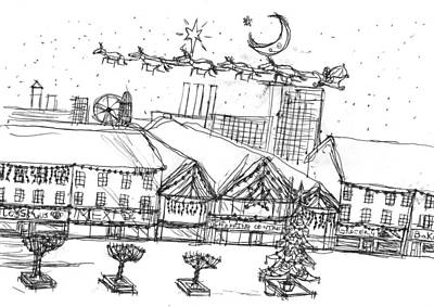 Matthew Joseph Williams Drawing - Christmas In The City by Artists With Autism Inc