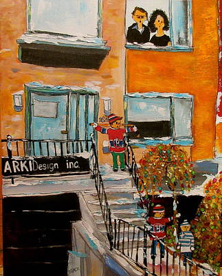 Brick Duplex Painting - Christmas In The City by Michael Litvack