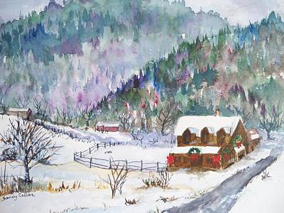 Painting - Christmas In The Mountains by Sandy Collier
