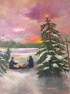 Painting - Christmas In The Woods by Randol Burns