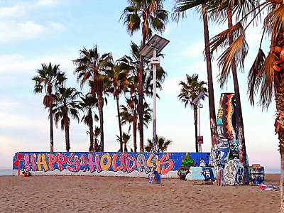 Photograph - Christmas In Venice Beach by Art Block Collections