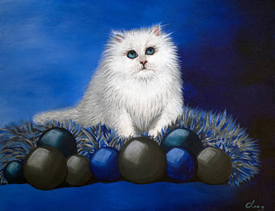 Painting - A Kitten For Christmas by Long Studios