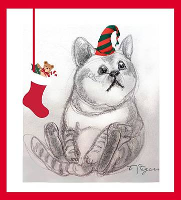 Painting - Christmas Kitty by Tarja Stegars