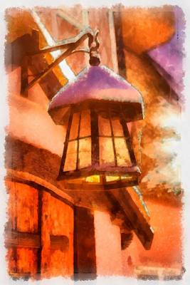 Saint Nicholas Painting - Christmas Lamp by Esoterica Art Agency