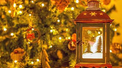 Christmas Lantern Art Print by Angela Aird