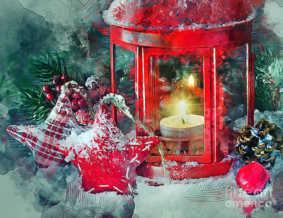 Mixed Media - Christmas Lantern by Ian Mitchell