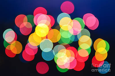 Curated Beach Towels - Christmas lights abstract by Elena Elisseeva