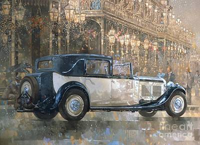 Old Street Painting - Christmas Lights And 8 Litre Bentley by Peter Miller