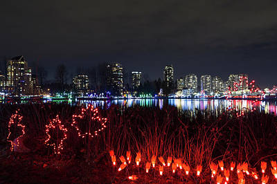 Photograph - Christmas Lights At Lafarge Lake In City Of Coquitlam by David Gn
