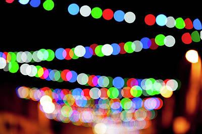Photograph - Christmas Lights Bokeh Blur by Helen Northcott