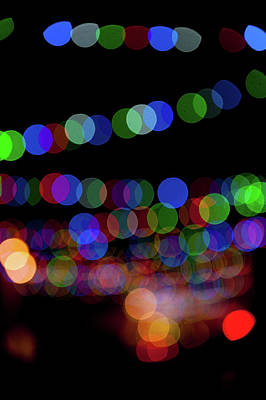Photograph - Christmas Lights Bokeh Blur II by Helen Northcott