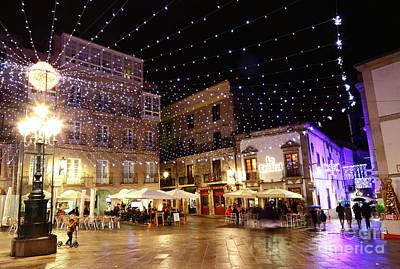 Christmas Lights In Casco Vello Vigo Spain Art Print by James Brunker
