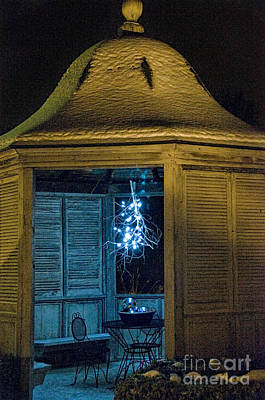 Photograph - Christmas Lights In Gazebo by David Arment