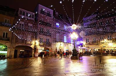 Christmas Lights In Historic Centre Of Vigo Spain Art Print by James Brunker