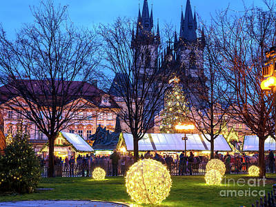 Photograph - Christmas Lights In Prague by John Rizzuto